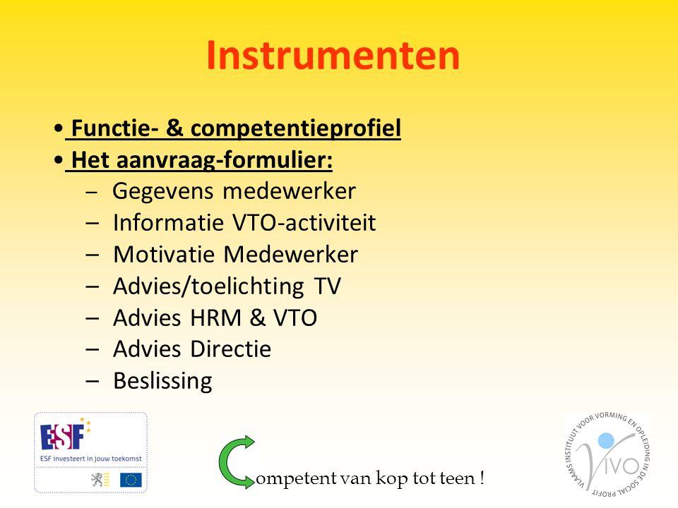 Instrumenten • Functie- & competentieprofiel • Het aanvraag-formulier: – Gegevens medewerker – Informatie VTO-activiteit – Motivatie Medewerker – Advi