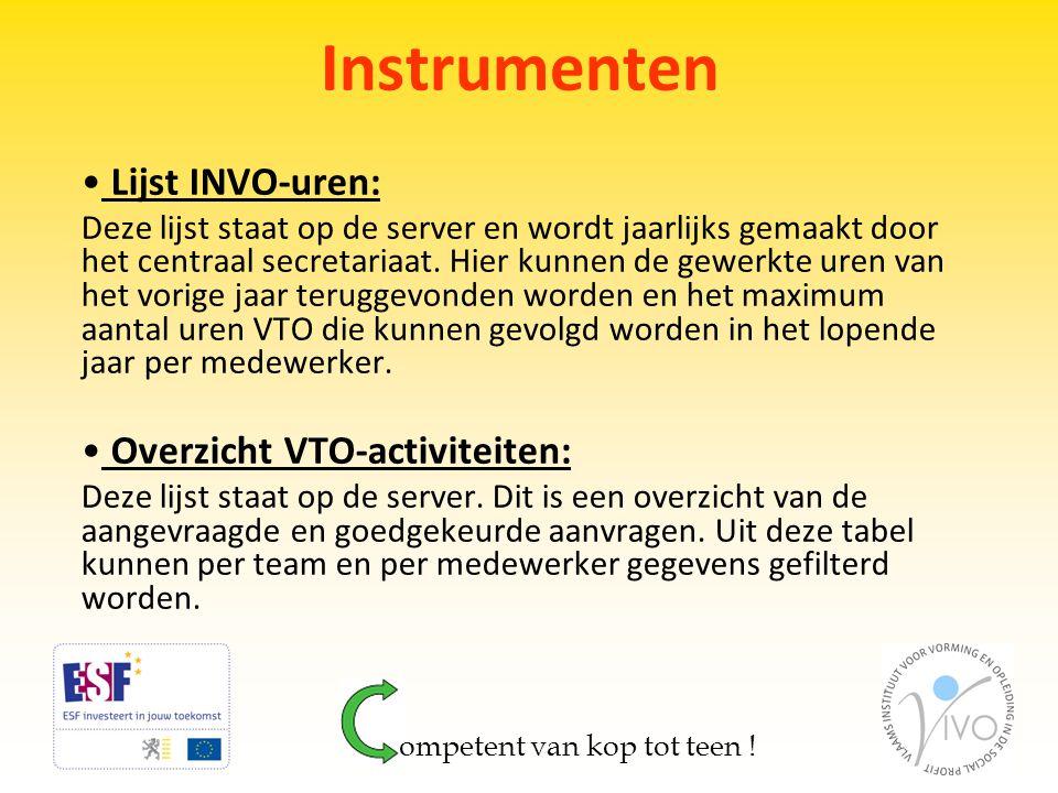 Instrumenten • Lijst INVO-uren: Deze lijst staat op de server en wordt jaarlijks gemaakt door het centraal secretariaat. Hier kunnen de gewerkte uren