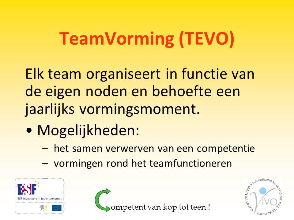 TeamVorming (TEVO) Elk team organiseert in functie van de eigen noden en behoefte een jaarlijks vormingsmoment. • Mogelijkheden: – het samen verwerven