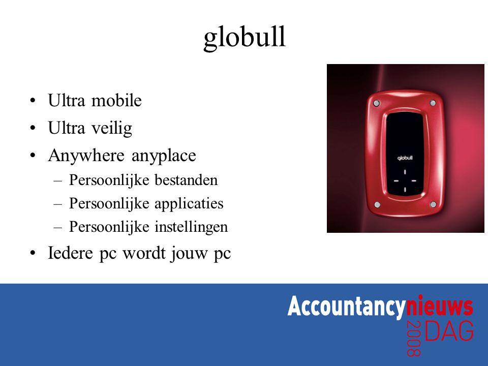 globull •Ultra mobile •Ultra veilig •Anywhere anyplace –Persoonlijke bestanden –Persoonlijke applicaties –Persoonlijke instellingen •Iedere pc wordt jouw pc