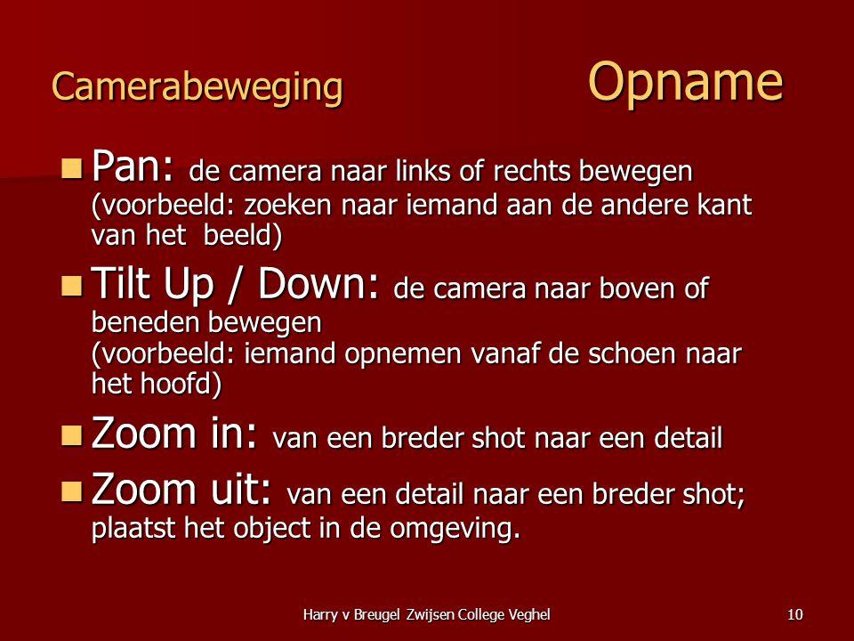 Harry v Breugel Zwijsen College Veghel10 Camerabeweging Opname  Pan: de camera naar links of rechts bewegen (voorbeeld: zoeken naar iemand aan de and