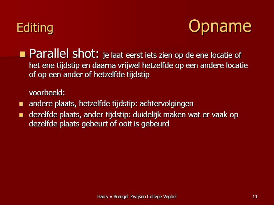 Harry v Breugel Zwijsen College Veghel11 Editing Opname  Parallel shot: je laat eerst iets zien op de ene locatie of het ene tijdstip en daarna vrijw