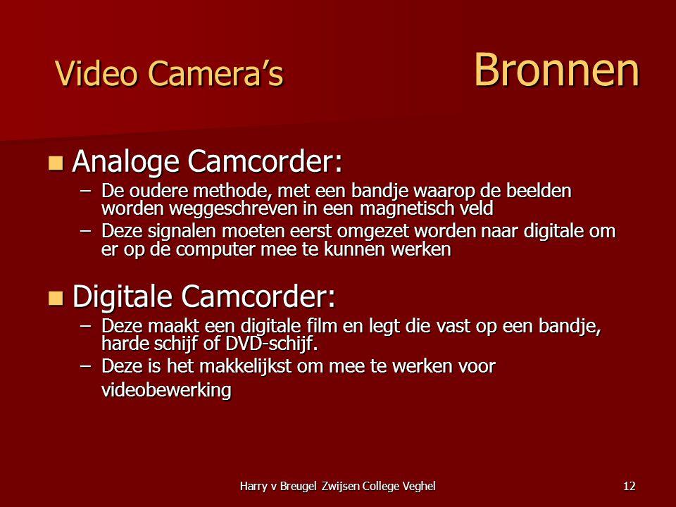 Harry v Breugel Zwijsen College Veghel12 Video Camera's Bronnen  Analoge Camcorder: –De oudere methode, met een bandje waarop de beelden worden wegge