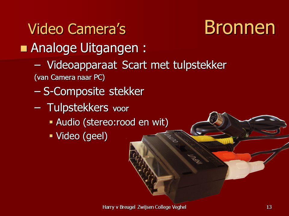 Harry v Breugel Zwijsen College Veghel13 Video Camera's Bronnen  Analoge Uitgangen : – Videoapparaat Scart met tulpstekker (van Camera naar PC) –S-Composite stekker – Tulpstekkers voor  Audio (stereo:rood en wit)  Video (geel)