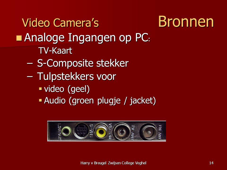 Harry v Breugel Zwijsen College Veghel14 Video Camera's Bronnen  Analoge Ingangen op PC : TV-Kaart – S-Composite stekker – Tulpstekkers voor  video (geel)  Audio (groen plugje / jacket)