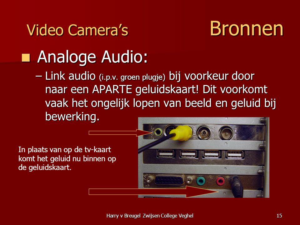 Harry v Breugel Zwijsen College Veghel15 Video Camera's Bronnen  Analoge Audio: –Link audio (i.p.v. groen plugje) bij voorkeur door naar een APARTE g