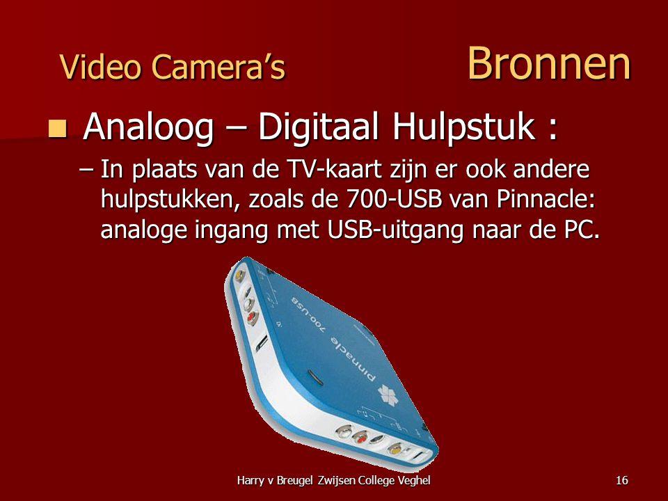 Harry v Breugel Zwijsen College Veghel16 Video Camera's Bronnen  Analoog – Digitaal Hulpstuk : –In plaats van de TV-kaart zijn er ook andere hulpstukken, zoals de 700-USB van Pinnacle: analoge ingang met USB-uitgang naar de PC.