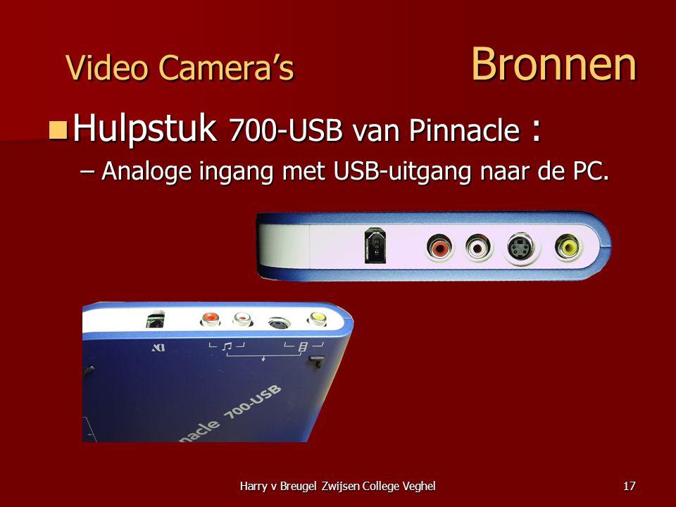 Harry v Breugel Zwijsen College Veghel17 Video Camera's Bronnen  Hulpstuk 700-USB van Pinnacle : –Analoge ingang met USB-uitgang naar de PC.