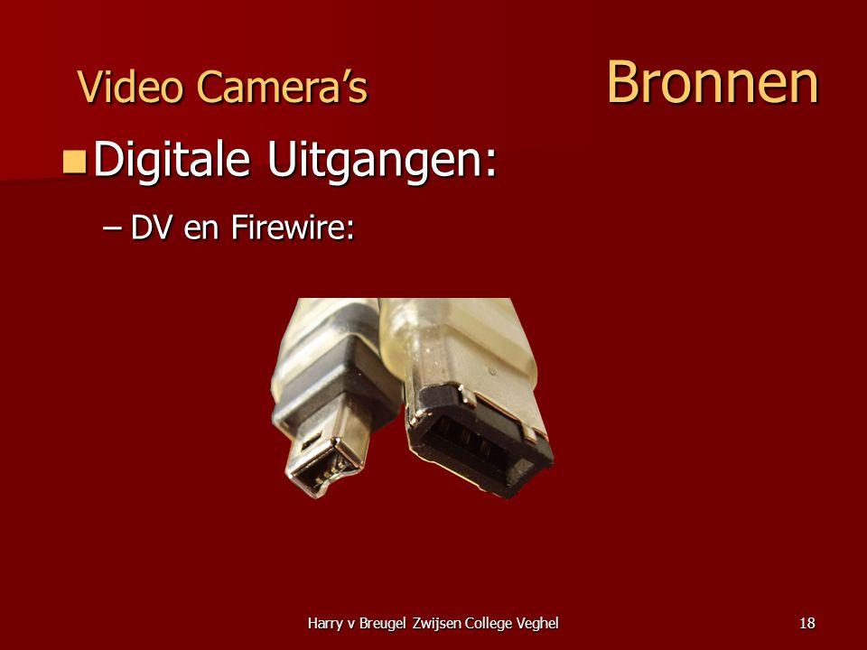 Harry v Breugel Zwijsen College Veghel18  Digitale Uitgangen: –DV en Firewire: Video Camera's Bronnen