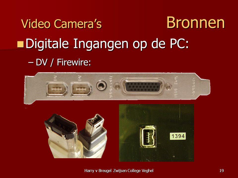 Harry v Breugel Zwijsen College Veghel19 Video Camera's Bronnen  Digitale Ingangen op de PC: –DV / Firewire: