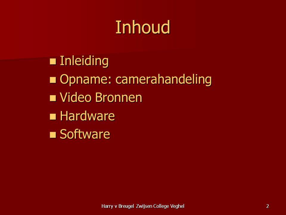 Harry v Breugel Zwijsen College Veghel2 Inhoud  Inleiding  Opname: camerahandeling  Video Bronnen  Hardware  Software