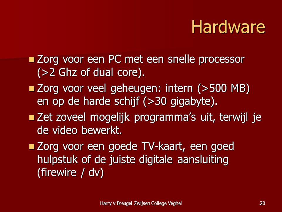 Harry v Breugel Zwijsen College Veghel20 Hardware  Zorg voor een PC met een snelle processor (>2 Ghz of dual core).  Zorg voor veel geheugen: intern