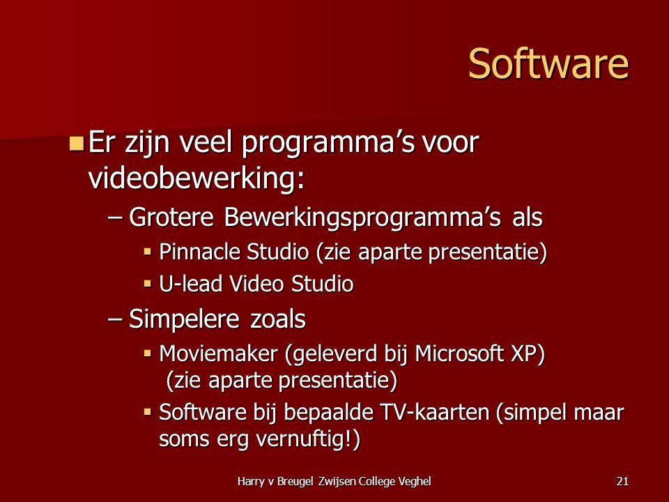 Harry v Breugel Zwijsen College Veghel21 Software  Er zijn veel programma's voor videobewerking: –Grotere Bewerkingsprogramma's als  Pinnacle Studio
