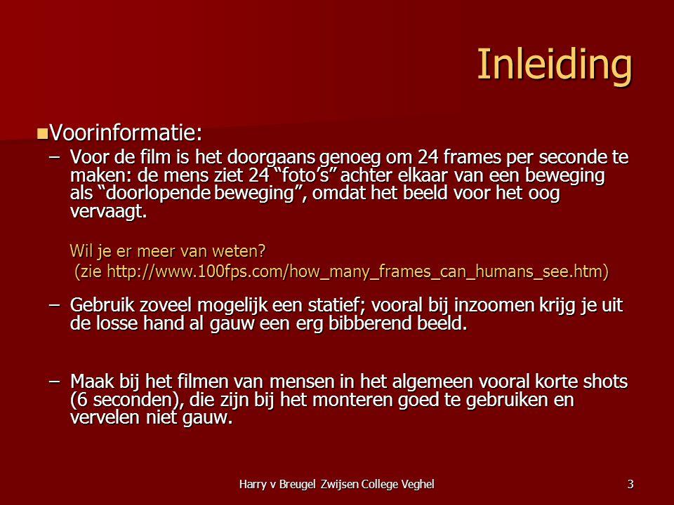 Harry v Breugel Zwijsen College Veghel3 Inleiding  Voorinformatie: –Voor de film is het doorgaans genoeg om 24 frames per seconde te maken: de mens z