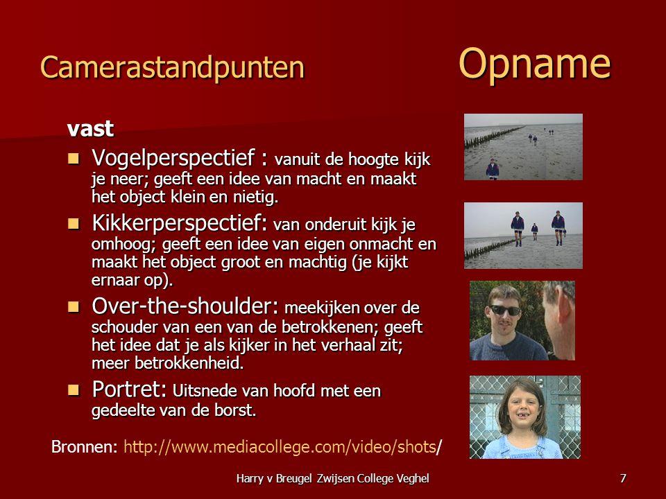 Harry v Breugel Zwijsen College Veghel7 Camerastandpunten Opname vast  Vogelperspectief : vanuit de hoogte kijk je neer; geeft een idee van macht en