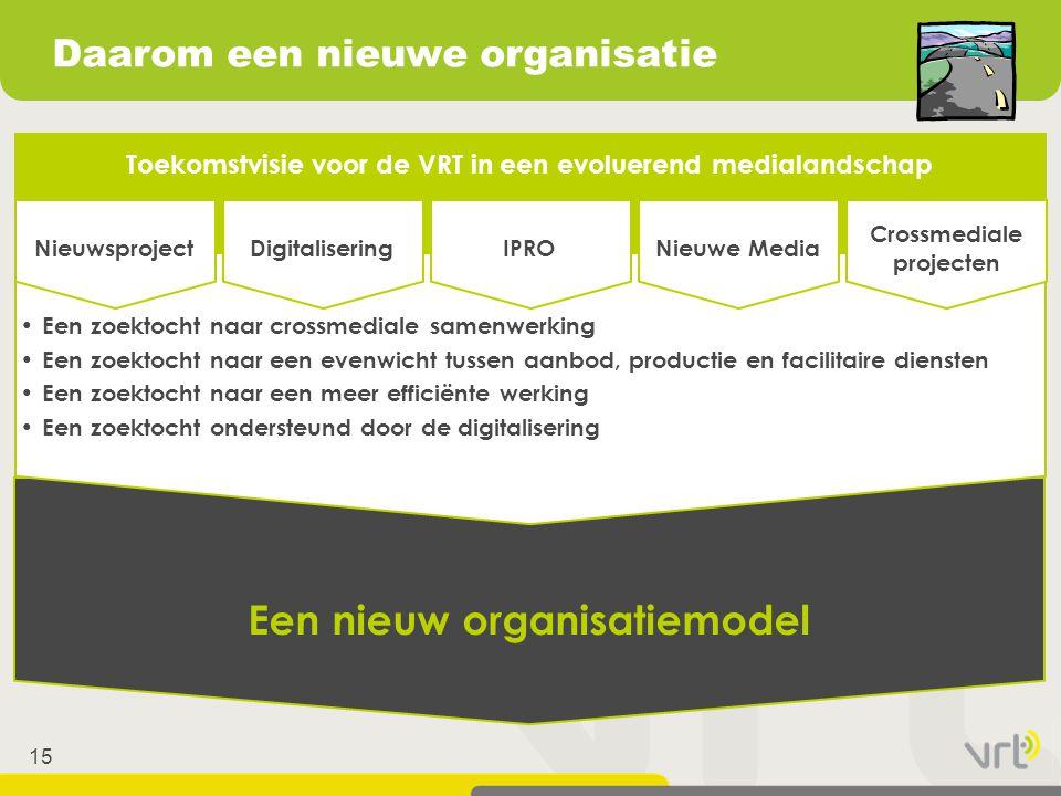 15 Toekomstvisie voor de VRT in een evoluerend medialandschap Een nieuw organisatiemodel • Een zoektocht naar crossmediale samenwerking • Een zoektoch