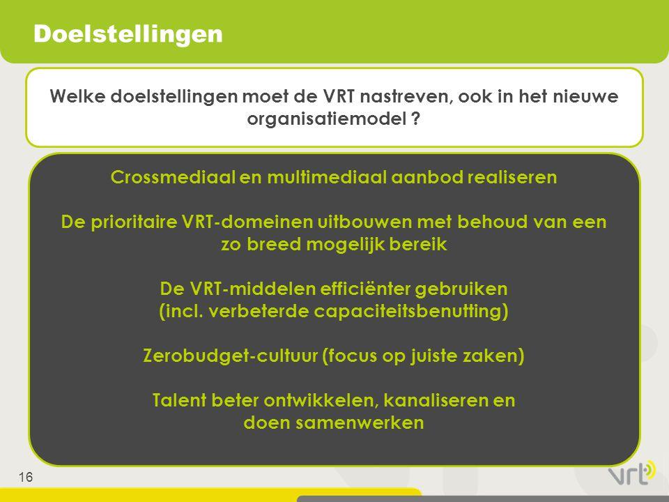 16 Doelstellingen Crossmediaal en multimediaal aanbod realiseren De prioritaire VRT-domeinen uitbouwen met behoud van een zo breed mogelijk bereik De