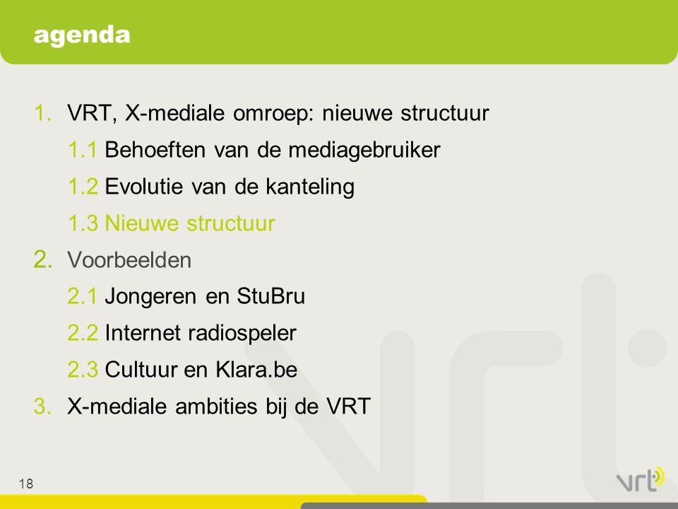 18 1.VRT, X-mediale omroep: nieuwe structuur 1.1 Behoeften van de mediagebruiker 1.2 Evolutie van de kanteling 1.3 Nieuwe structuur 2. Voorbeelden 2.1
