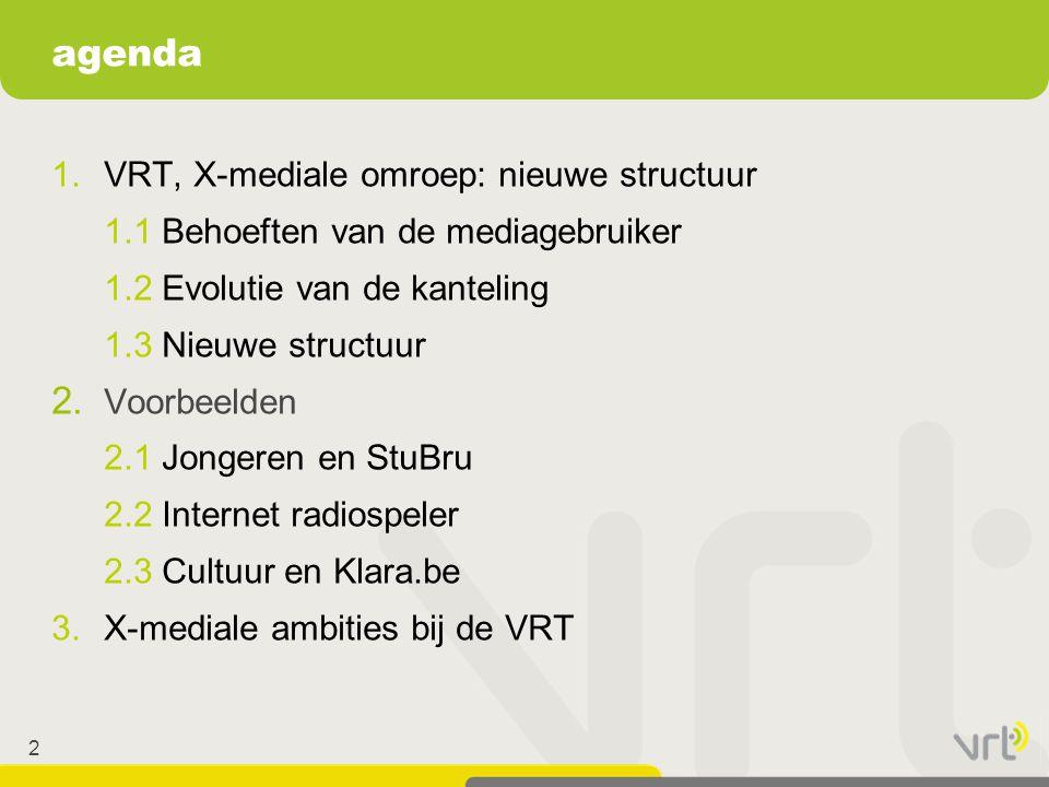 2 1.VRT, X-mediale omroep: nieuwe structuur 1.1 Behoeften van de mediagebruiker 1.2 Evolutie van de kanteling 1.3 Nieuwe structuur 2. Voorbeelden 2.1
