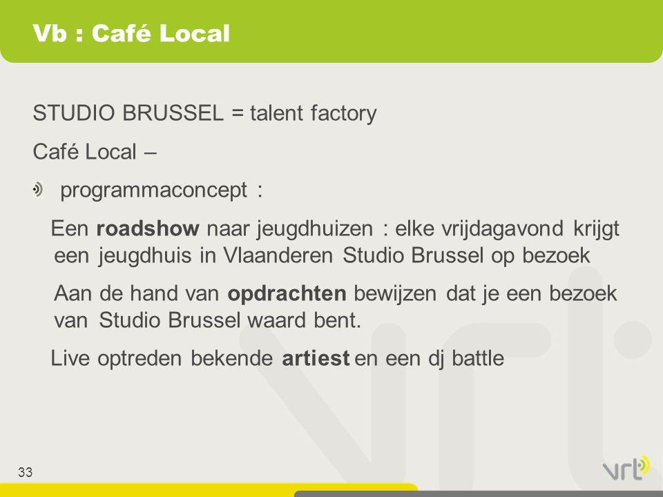 33 Vb : Café Local STUDIO BRUSSEL = talent factory Café Local – programmaconcept : Een roadshow naar jeugdhuizen : elke vrijdagavond krijgt eenjeugdhu