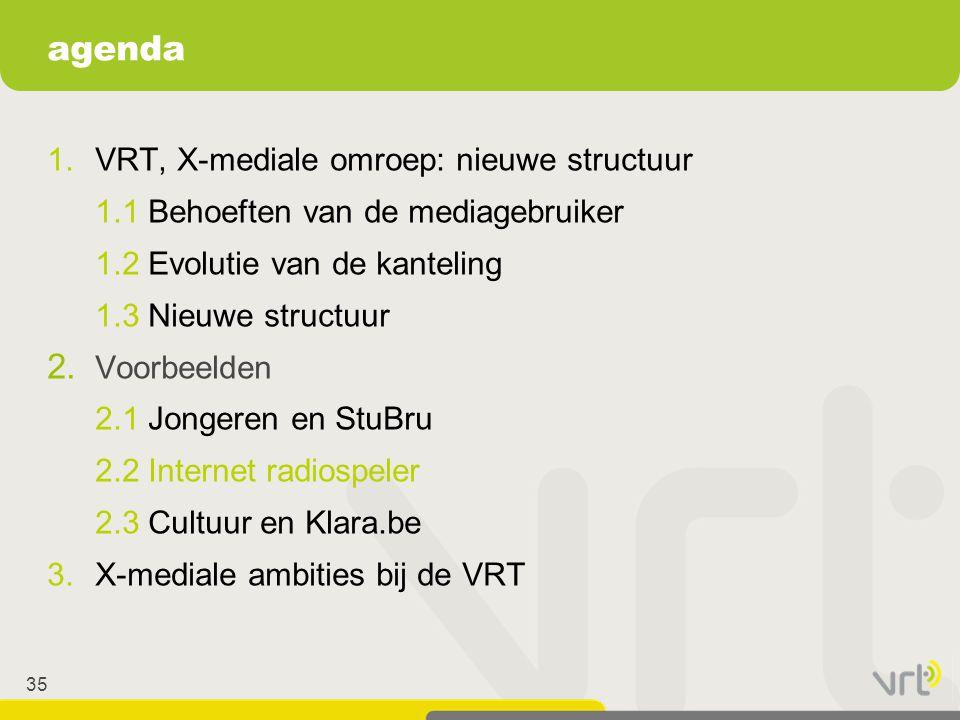35 1.VRT, X-mediale omroep: nieuwe structuur 1.1 Behoeften van de mediagebruiker 1.2 Evolutie van de kanteling 1.3 Nieuwe structuur 2. Voorbeelden 2.1