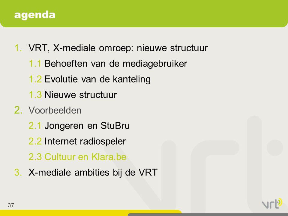 37 1.VRT, X-mediale omroep: nieuwe structuur 1.1 Behoeften van de mediagebruiker 1.2 Evolutie van de kanteling 1.3 Nieuwe structuur 2. Voorbeelden 2.1