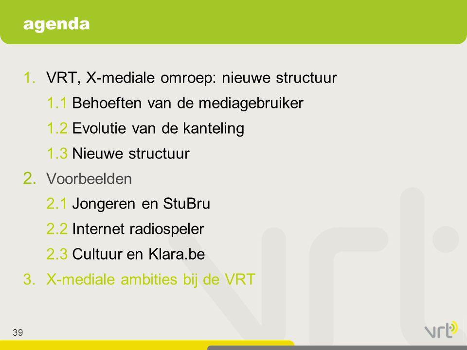 39 1.VRT, X-mediale omroep: nieuwe structuur 1.1 Behoeften van de mediagebruiker 1.2 Evolutie van de kanteling 1.3 Nieuwe structuur 2. Voorbeelden 2.1