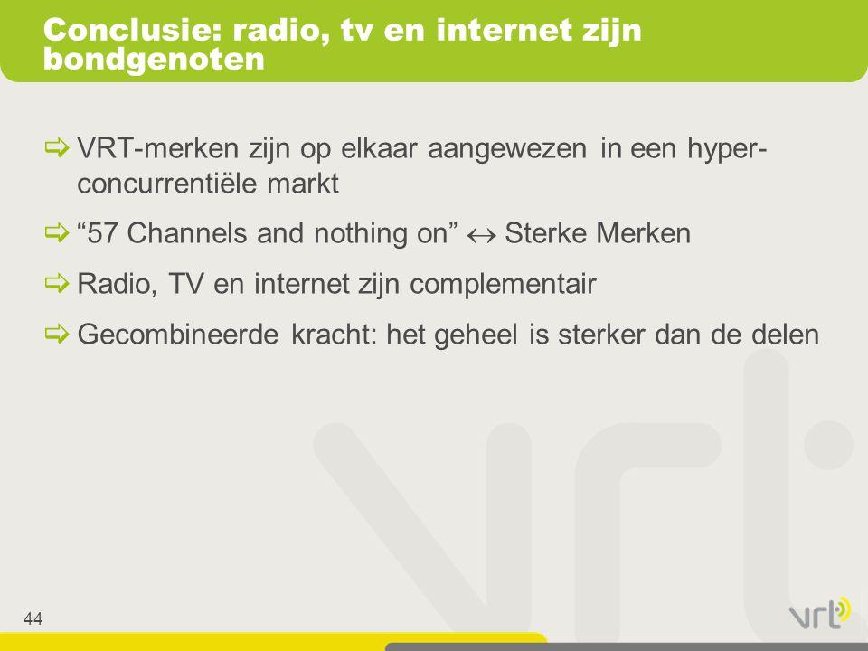 """44  VRT-merken zijn op elkaar aangewezen in een hyper- concurrentiële markt  """"57 Channels and nothing on""""  Sterke Merken  Radio, TV en internet zi"""