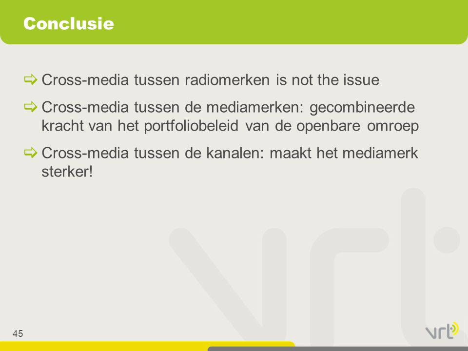45  Cross-media tussen radiomerken is not the issue  Cross-media tussen de mediamerken: gecombineerde kracht van het portfoliobeleid van de openbare