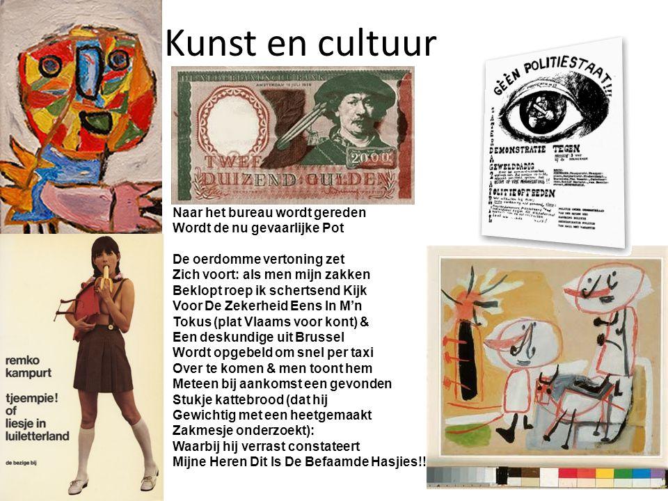 Kunst en cultuur Dendermonde 63 Voor een Vlaams cultureel café Waar ik een expositie zal openen, Wordt ons Volkswagenbusje met Minstens 25 inzittenden door De plaatselijke Wouten tot Staan gebracht & in de tussen- Tijd dat er rechtsomkeert Naar het bureau wordt gereden Wordt de nu gevaarlijke Pot De oerdomme vertoning zet Zich voort: als men mijn zakken Beklopt roep ik schertsend Kijk Voor De Zekerheid Eens In M'n Tokus (plat Vlaams voor kont) & Een deskundige uit Brussel Wordt opgebeld om snel per taxi Over te komen & men toont hem Meteen bij aankomst een gevonden Stukje kattebrood (dat hij Gewichtig met een heetgemaakt Zakmesje onderzoekt): Waarbij hij verrast constateert Mijne Heren Dit Is De Befaamde Hasjies!!