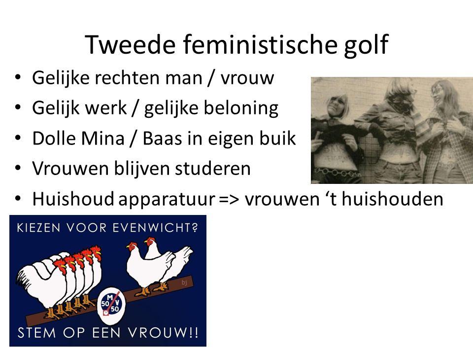 Tweede feministische golf • Gelijke rechten man / vrouw • Gelijk werk / gelijke beloning • Dolle Mina / Baas in eigen buik • Vrouwen blijven studeren • Huishoud apparatuur => vrouwen 't huishouden