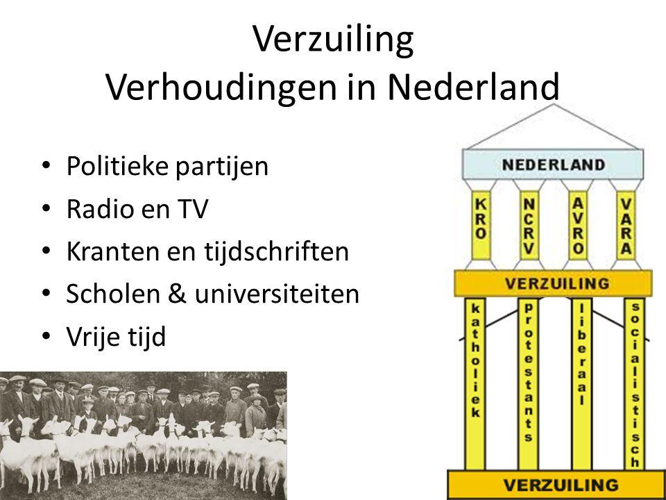 Verzuiling Verhoudingen in Nederland • Politieke partijen • Radio en TV • Kranten en tijdschriften • Scholen & universiteiten • Vrije tijd