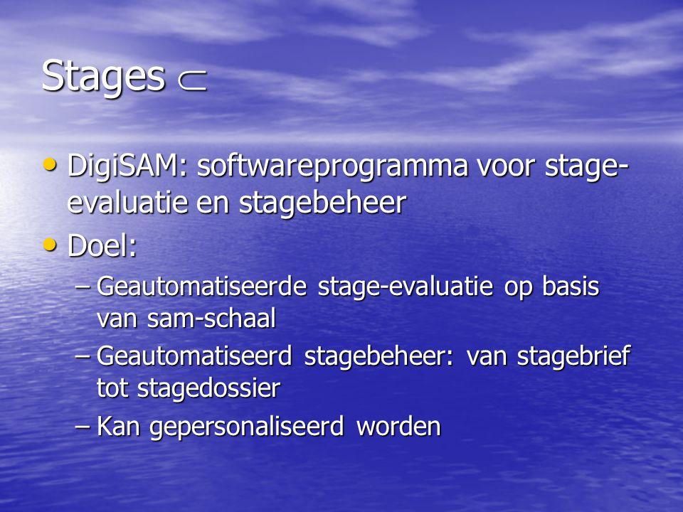 Stages  • DigiSAM: softwareprogramma voor stage- evaluatie en stagebeheer • Doel: –Geautomatiseerde stage-evaluatie op basis van sam-schaal –Geautoma