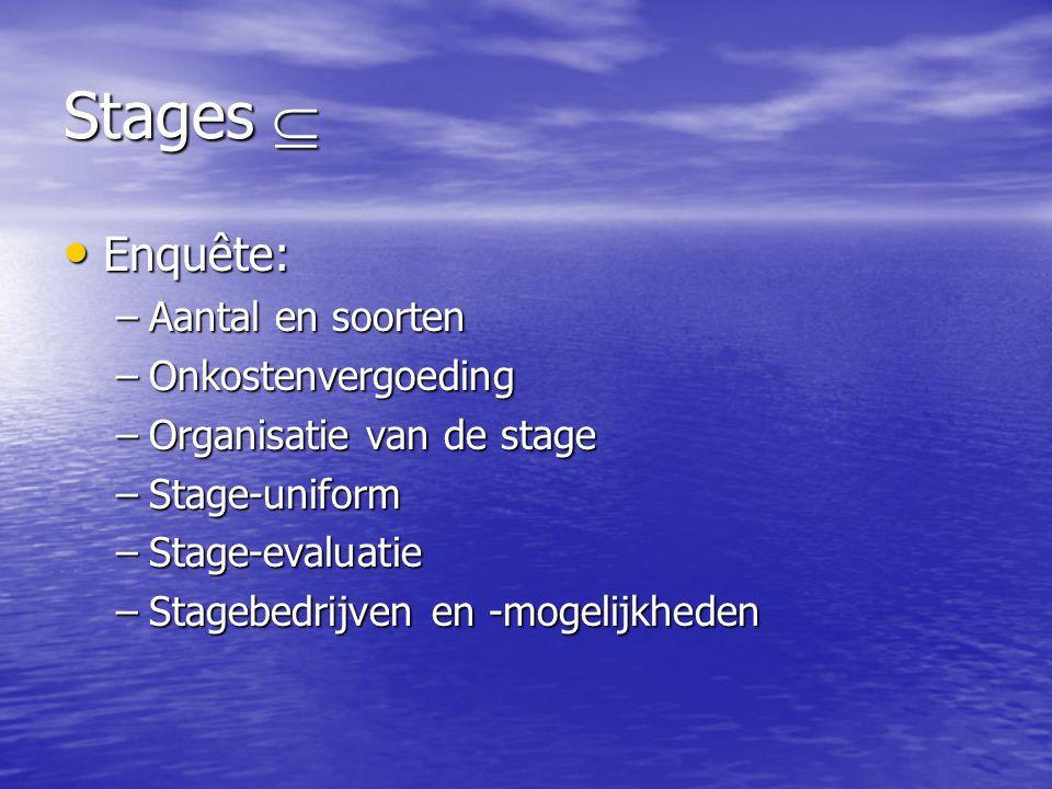 Stages  • Enquête: –Aantal en soorten –Onkostenvergoeding –Organisatie van de stage –Stage-uniform –Stage-evaluatie –Stagebedrijven en -mogelijkheden