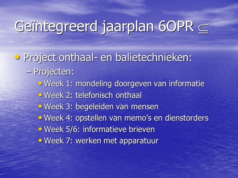 Geïntegreerd jaarplan 6OPR  • Project onthaal- en balietechnieken: –Projecten: • Week 1: mondeling doorgeven van informatie • Week 2: telefonisch ont
