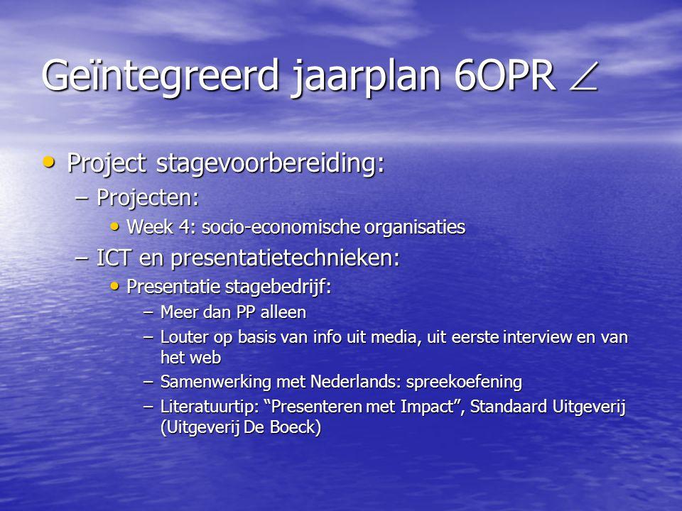 Geïntegreerd jaarplan 6OPR  • Project stagevoorbereiding: –Projecten: • Week 4: socio-economische organisaties –ICT en presentatietechnieken: • Prese