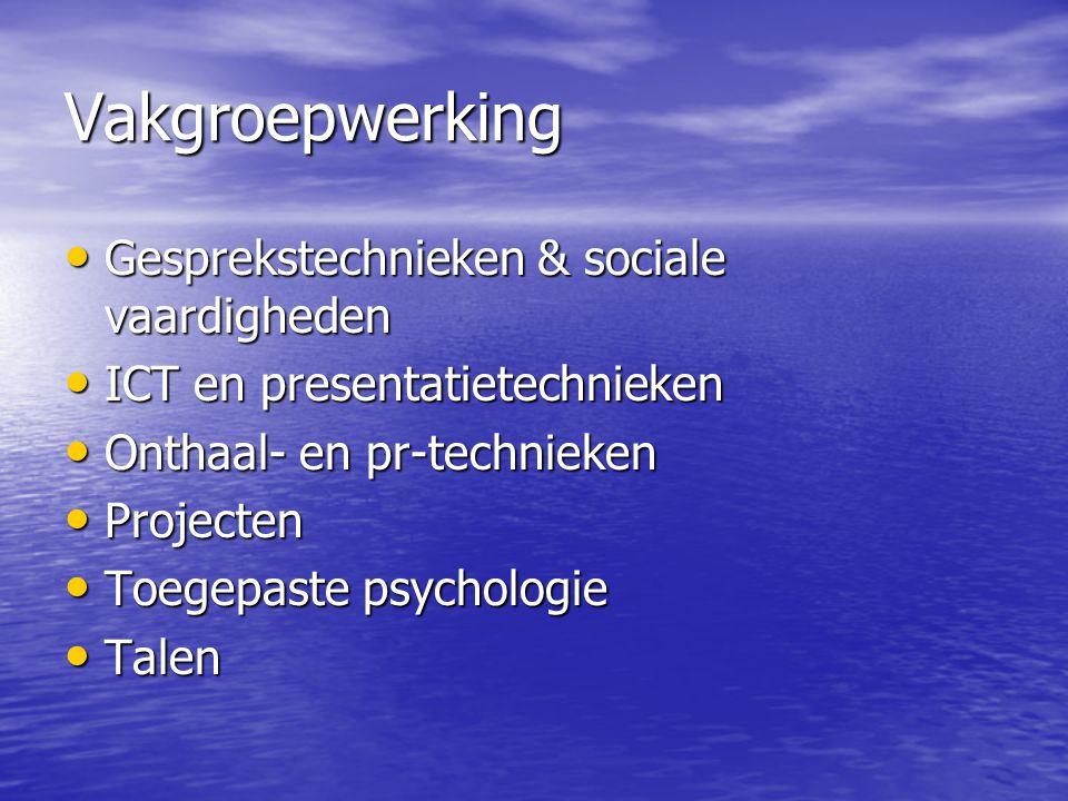 Vakgroepwerking • Gesprekstechnieken & sociale vaardigheden • ICT en presentatietechnieken • Onthaal- en pr-technieken • Projecten • Toegepaste psycho