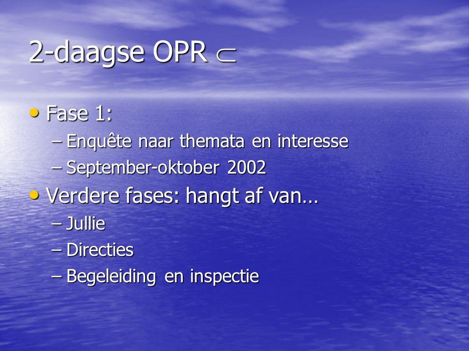 2-daagse OPR  • Fase 1: –Enquête naar themata en interesse –September-oktober 2002 • Verdere fases: hangt af van… –Jullie –Directies –Begeleiding en