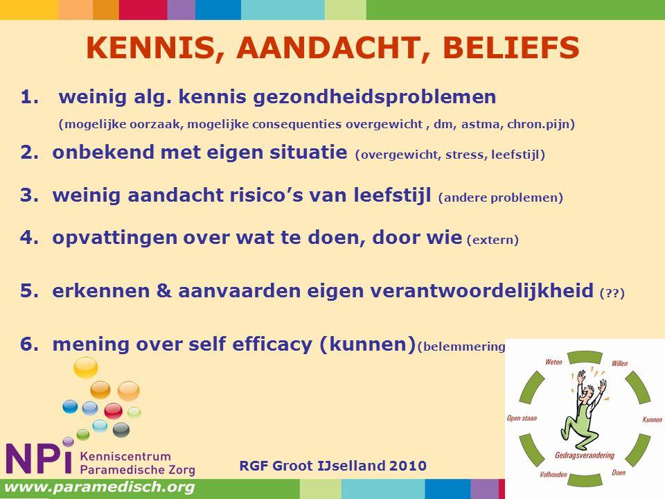 RGF Groot IJselland 201011 KENNIS, AANDACHT, BELIEFS 1.weinig alg. kennis gezondheidsproblemen (mogelijke oorzaak, mogelijke consequenties overgewicht