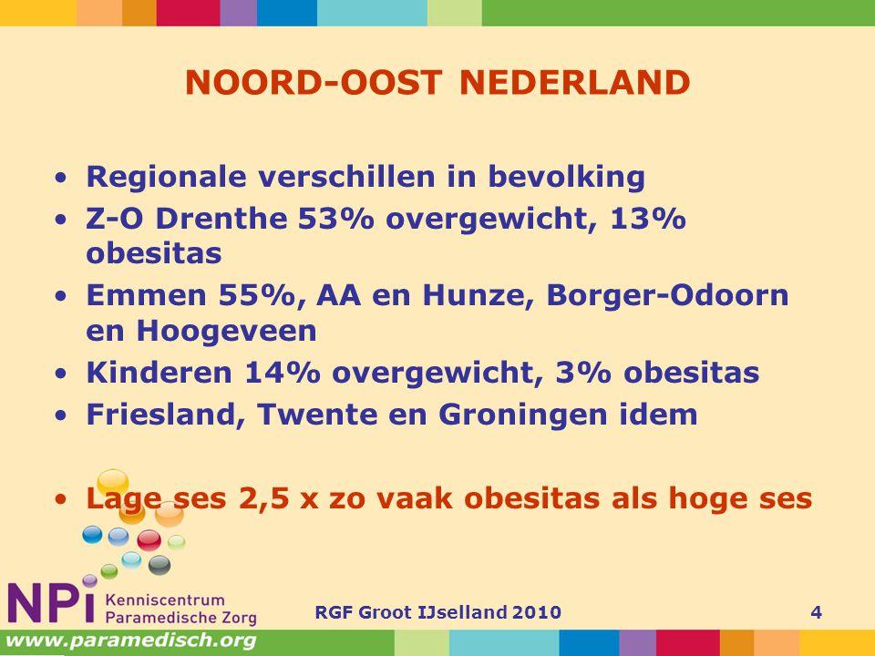 RGF Groot IJselland 20104 NOORD-OOST NEDERLAND •Regionale verschillen in bevolking •Z-O Drenthe 53% overgewicht, 13% obesitas •Emmen 55%, AA en Hunze,