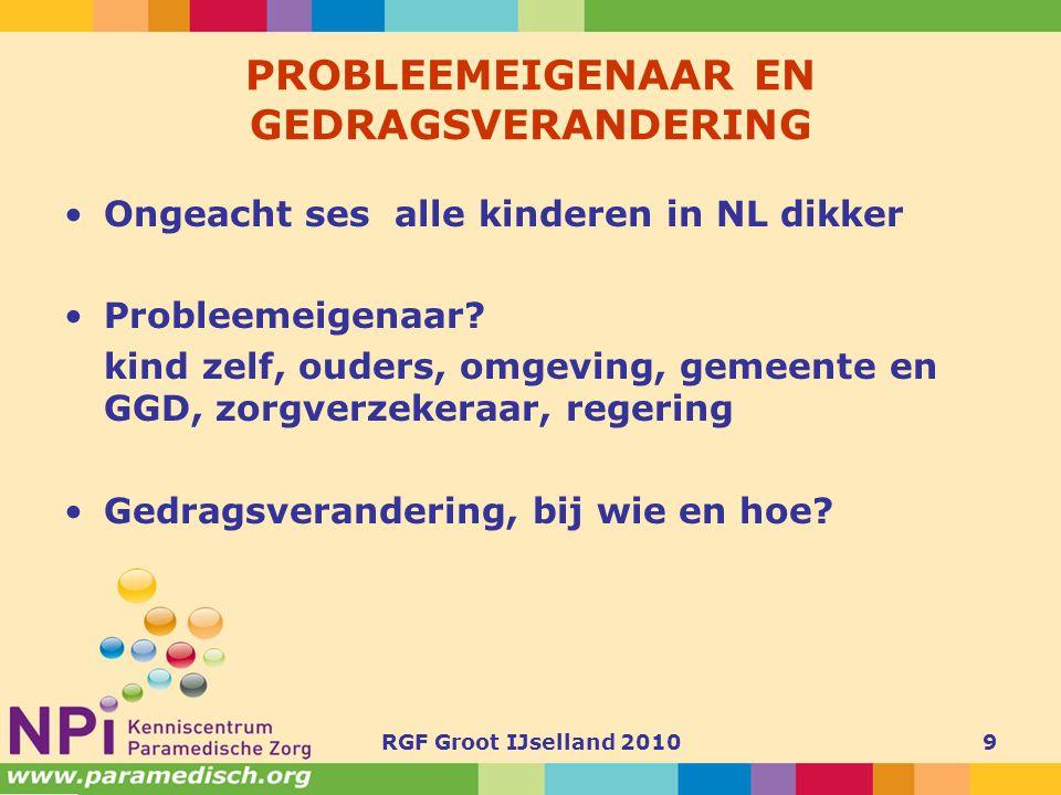 9 PROBLEEMEIGENAAR EN GEDRAGSVERANDERING •Ongeacht ses alle kinderen in NL dikker •Probleemeigenaar? kind zelf, ouders, omgeving, gemeente en GGD, zor