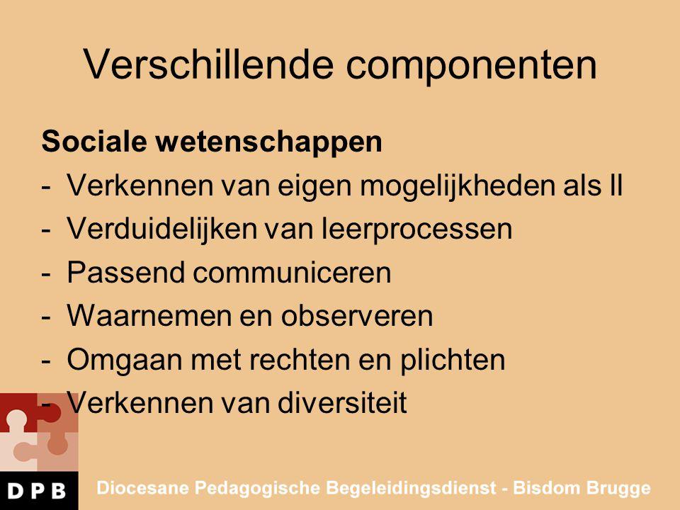 Verschillende componenten Sociale wetenschappen -Verkennen van eigen mogelijkheden als ll -Verduidelijken van leerprocessen -Passend communiceren -Waa