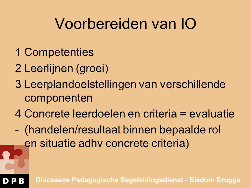 Voorbereiden van IO 1 Competenties 2 Leerlijnen (groei) 3 Leerplandoelstellingen van verschillende componenten 4 Concrete leerdoelen en criteria = eva