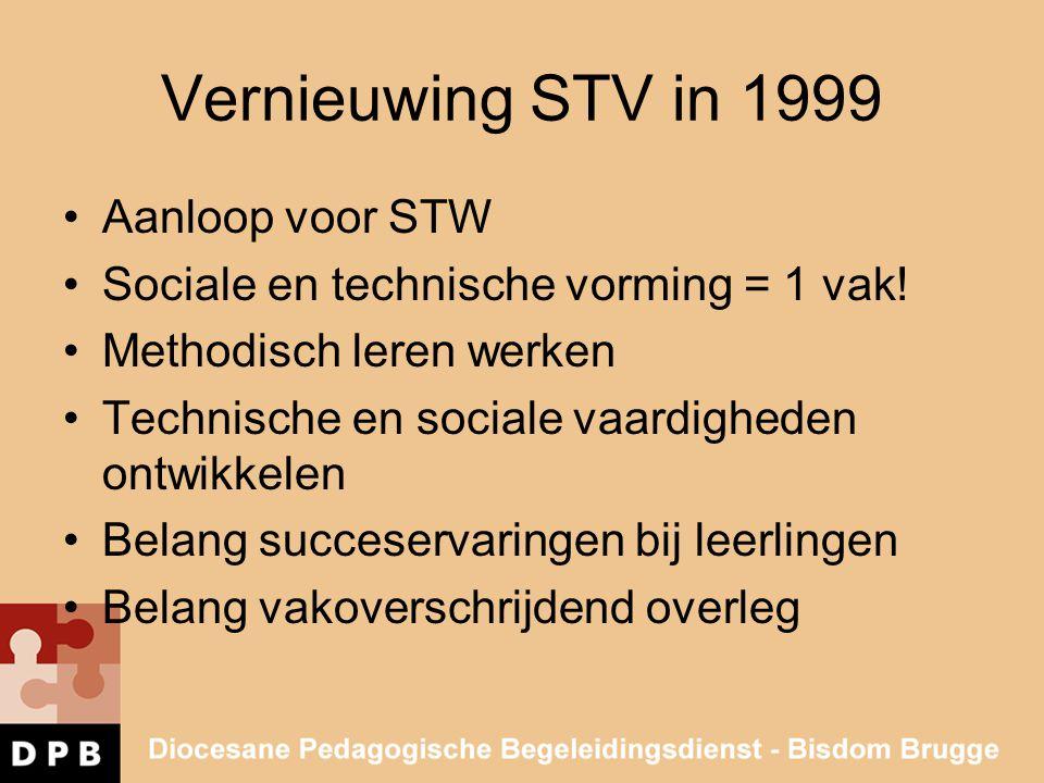 Vernieuwing STV in 1999 •Aanloop voor STW •Sociale en technische vorming = 1 vak! •Methodisch leren werken •Technische en sociale vaardigheden ontwikk