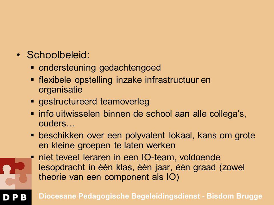 •Schoolbeleid:  ondersteuning gedachtengoed  flexibele opstelling inzake infrastructuur en organisatie  gestructureerd teamoverleg  info uitwissel