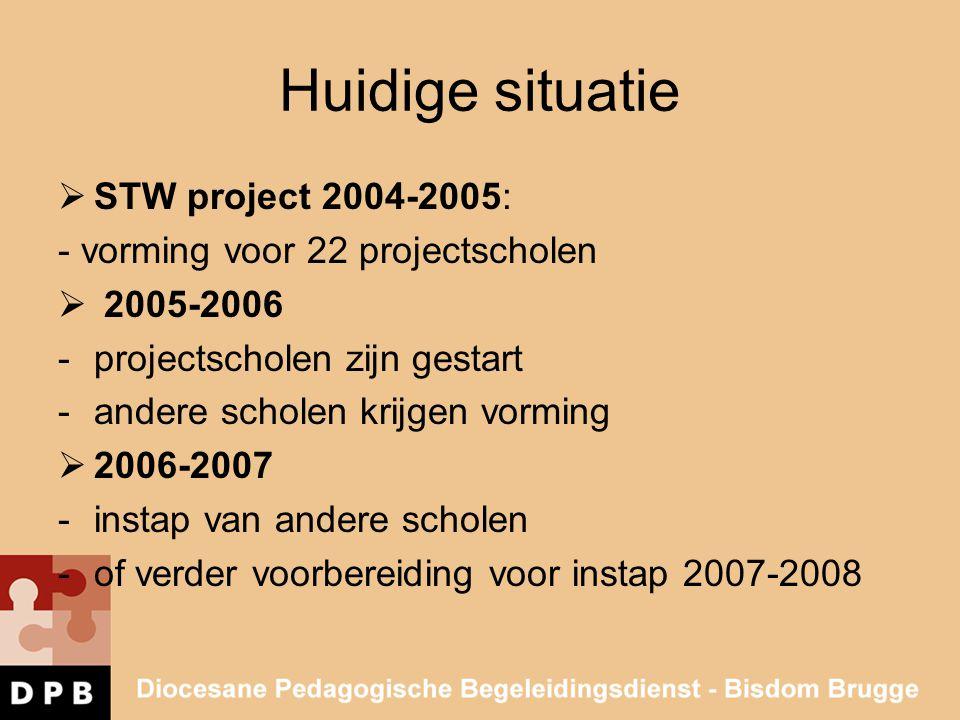 Huidige situatie  STW project 2004-2005: - vorming voor 22 projectscholen  2005-2006 -projectscholen zijn gestart -andere scholen krijgen vorming 