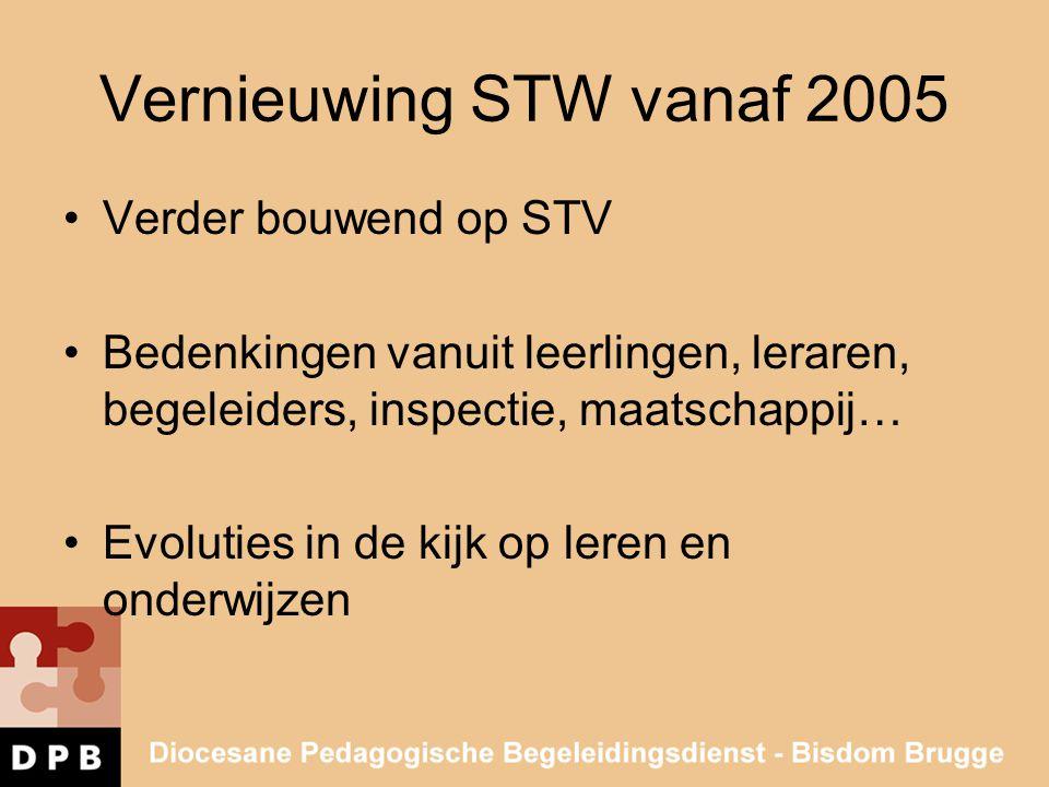 Vernieuwing STW vanaf 2005 •Verder bouwend op STV •Bedenkingen vanuit leerlingen, leraren, begeleiders, inspectie, maatschappij… •Evoluties in de kijk