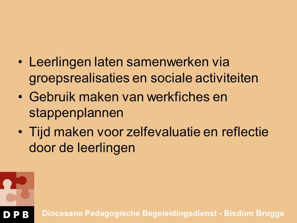 •Leerlingen laten samenwerken via groepsrealisaties en sociale activiteiten •Gebruik maken van werkfiches en stappenplannen •Tijd maken voor zelfevalu