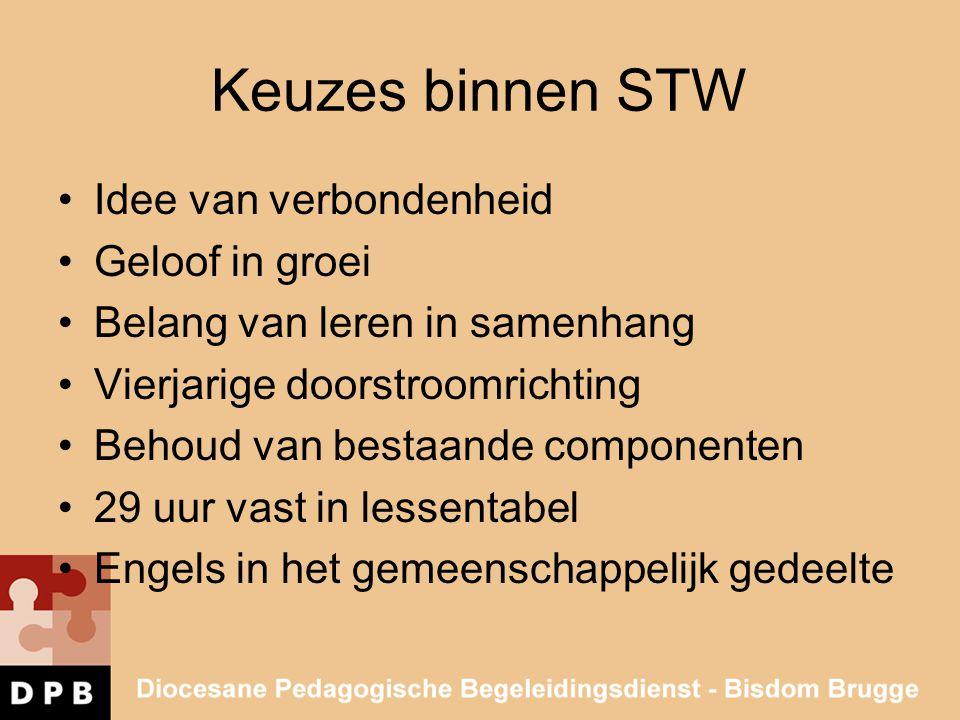 Keuzes binnen STW •Idee van verbondenheid •Geloof in groei •Belang van leren in samenhang •Vierjarige doorstroomrichting •Behoud van bestaande compone