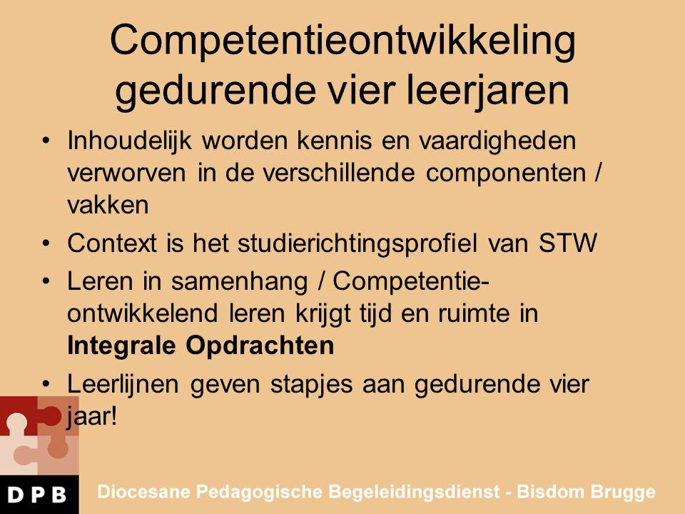 Competentieontwikkeling gedurende vier leerjaren •Inhoudelijk worden kennis en vaardigheden verworven in de verschillende componenten / vakken •Contex